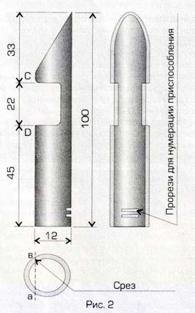 Рис.2. Схема изготовления трубки-шаблона для обрезки черенков