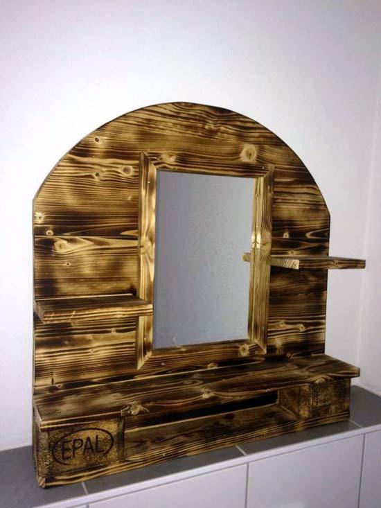 Зеркало для ванной из паллетов