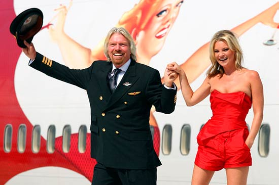 Ричард Брэнсон и Кейт Мосс на юбилее Virgin Atlantic